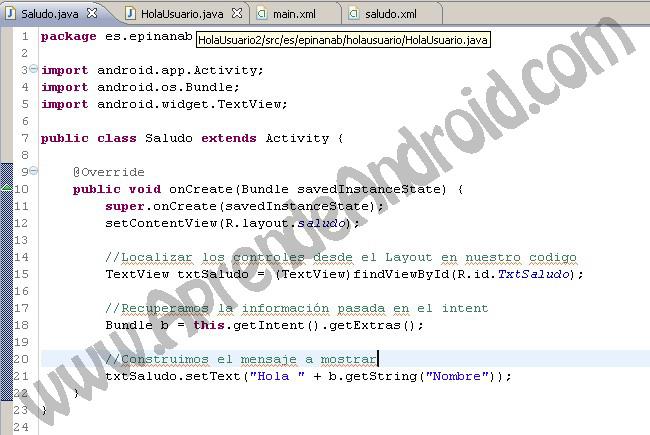 Fundamentos Android aplicacion sencilla con uso del Intent